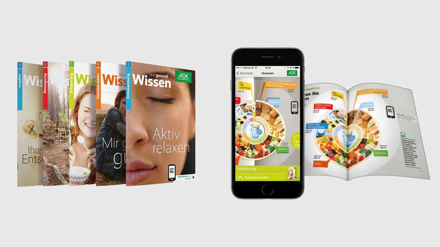 Broschürenreihe für die AOK - aufgeladen mit Augmented Reality
