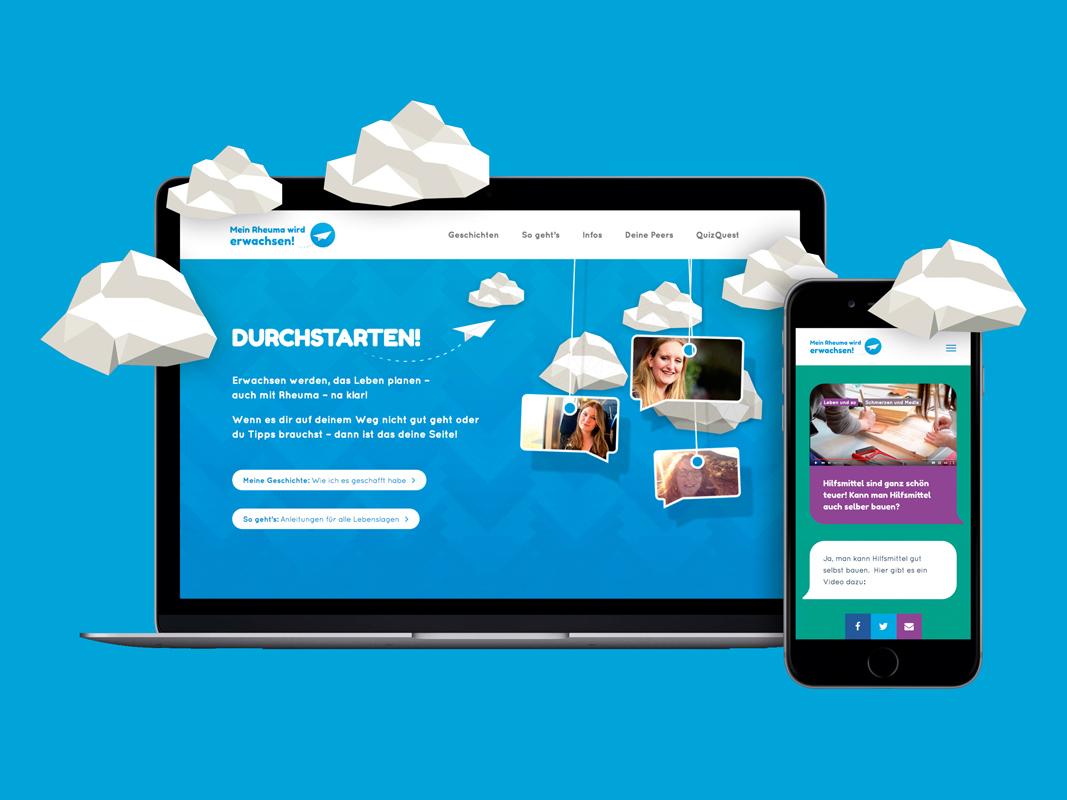 Kommunikation auf Augenhöhe: Website Mein-Rheuma-wird-erwachsen für junge RheumatikerInnen